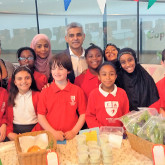 Sadiq Khan, Mayor of London, with school pupils